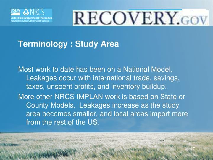 Terminology : Study Area