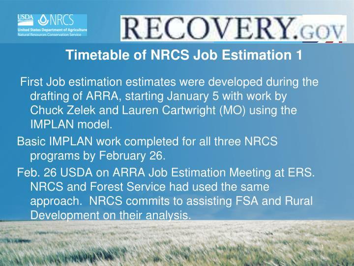 Timetable of NRCS Job Estimation 1