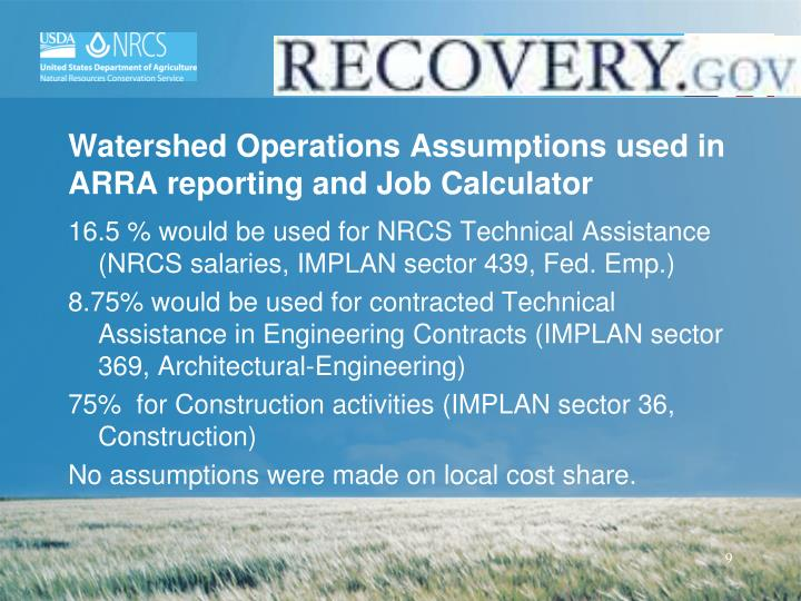 Watershed Operations Assumptions used in ARRA reporting and Job Calculator