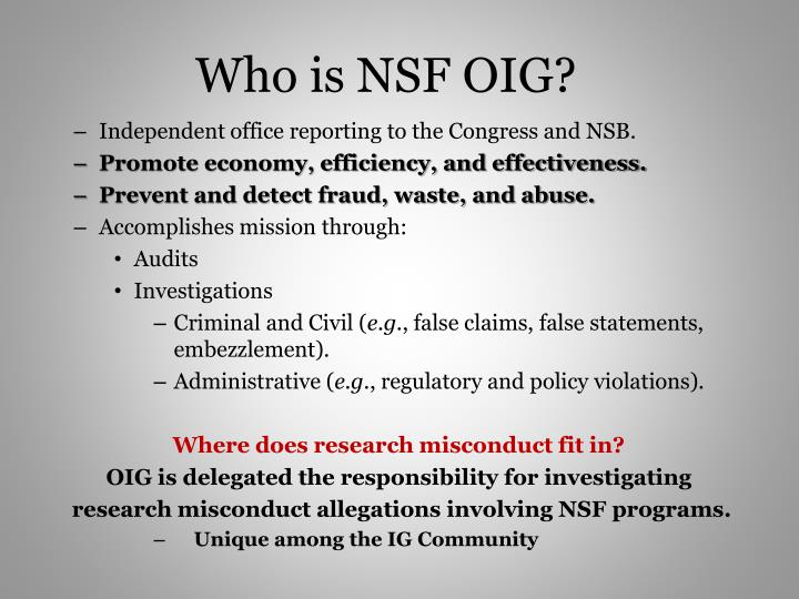 Who is NSF OIG?