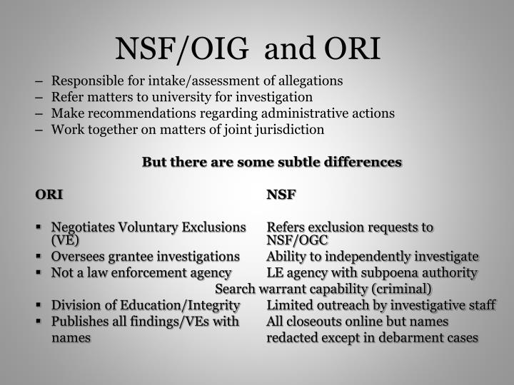 NSF/OIG  and ORI