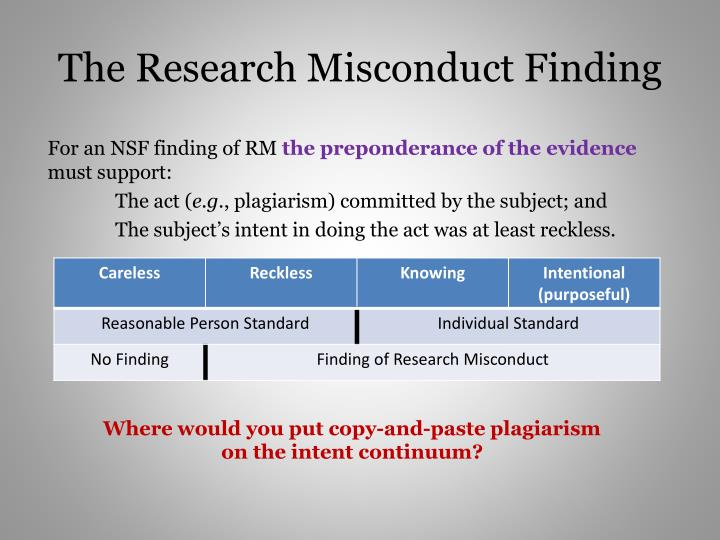 The Research Misconduct Finding
