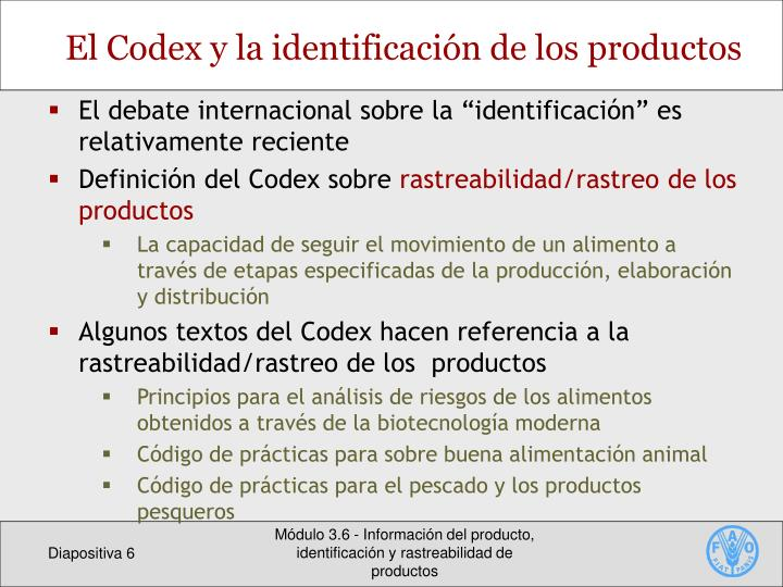 El Codex y la identificación de los productos