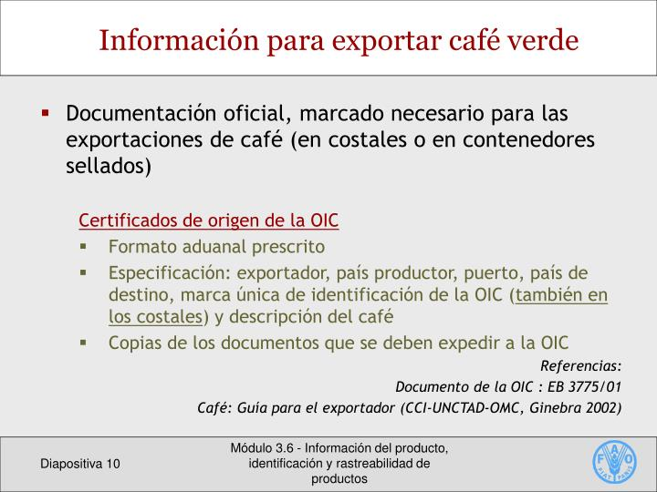 Información para exportar café verde