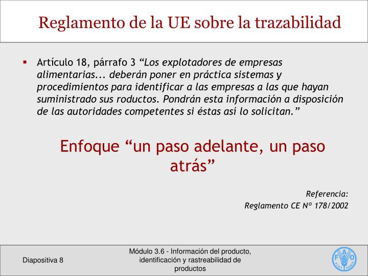 Reglamento de la UE sobre la trazabilidad
