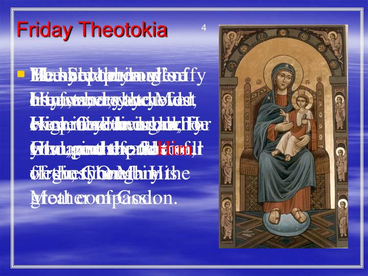 Friday Theotokia