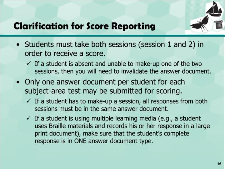 Clarification for Score Reporting