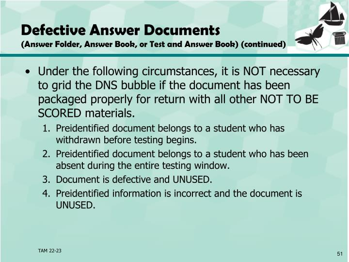 Defective Answer Documents