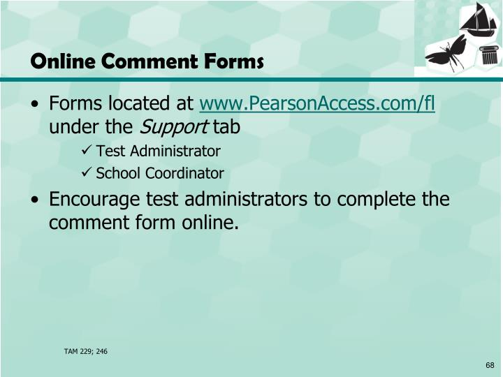 Online Comment Forms
