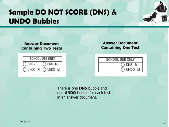 Sample DO NOT SCORE (DNS) &