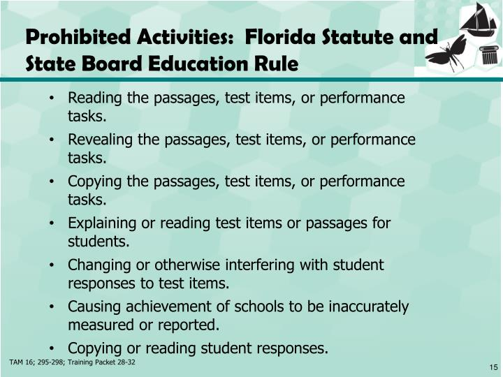 Prohibited Activities:  Florida Statute and State Board Education Rule