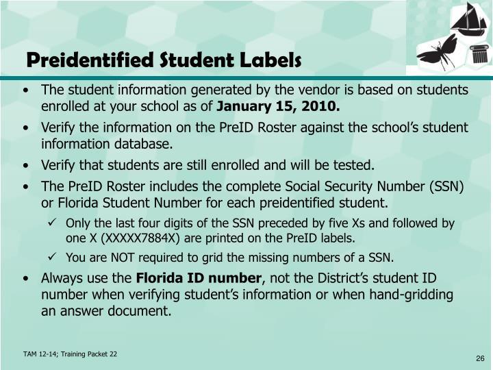 Preidentified Student Labels