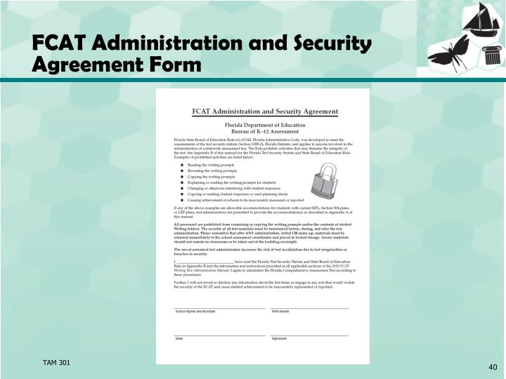 FCAT Administration and Security Agreement Form