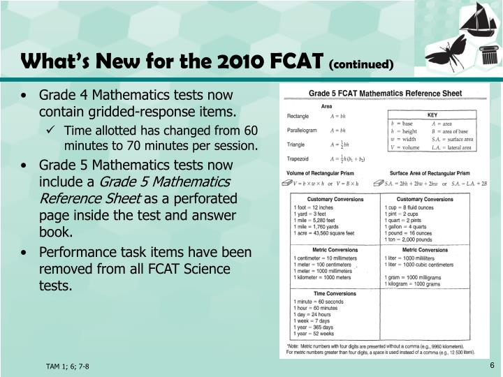 What's New for the 2010 FCAT
