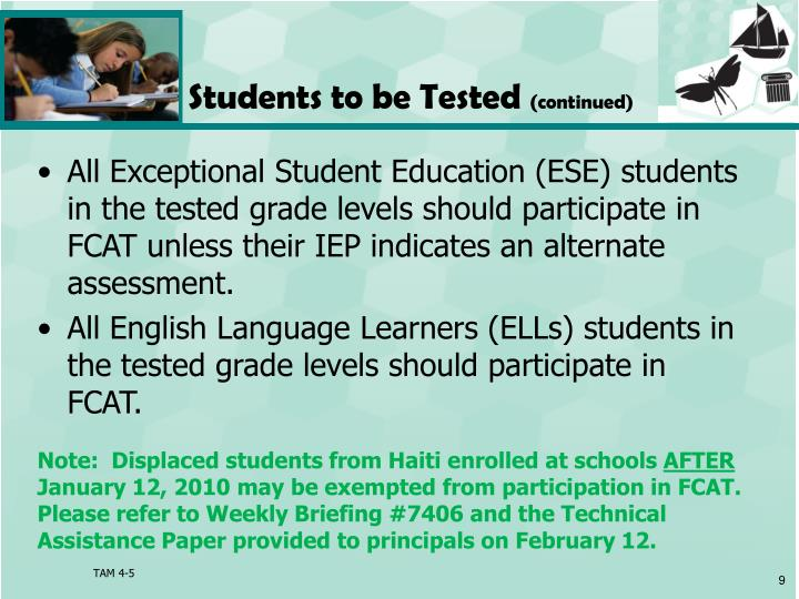 Students to be Tested