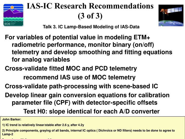 IAS-IC Research Recommendations