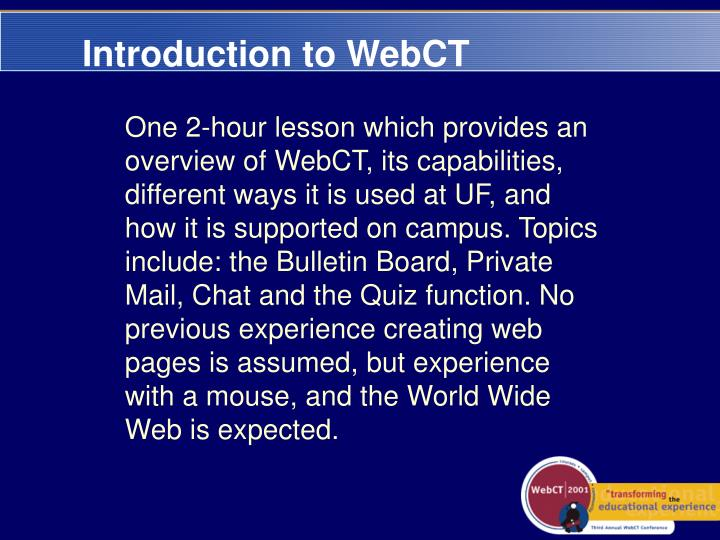 Introduction to WebCT