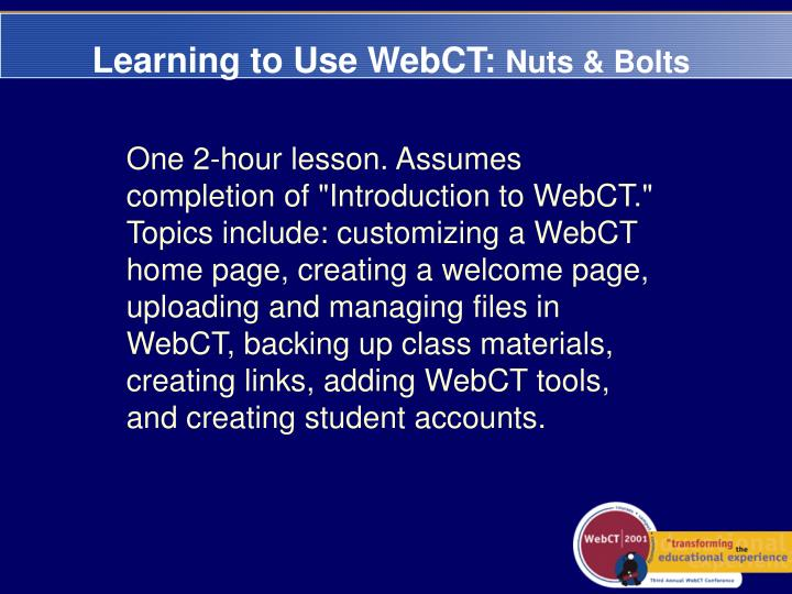 Learning to Use WebCT: