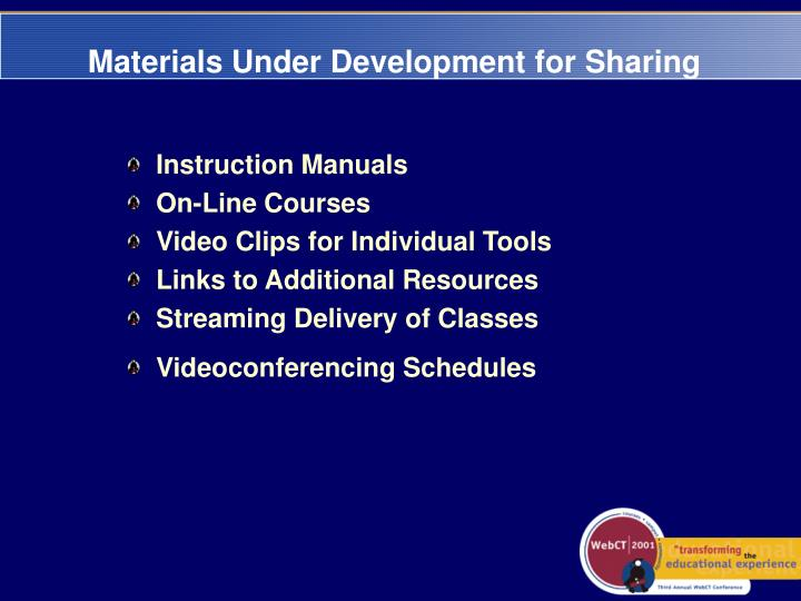 Materials Under Development for Sharing