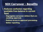 nih carryover benefits