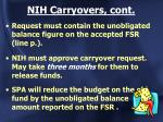 nih carryovers cont