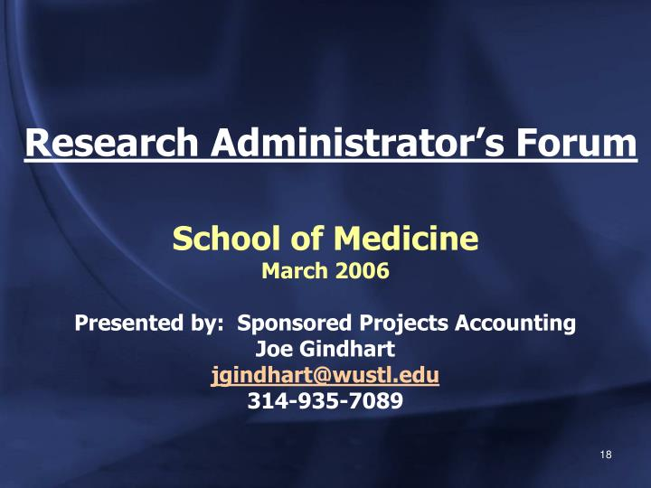 Research Administrator's Forum