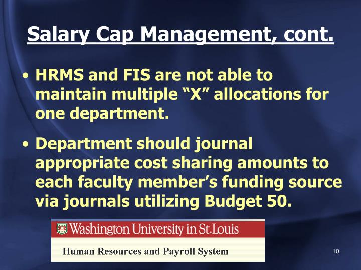 Salary Cap Management, cont.