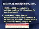 salary cap management cont