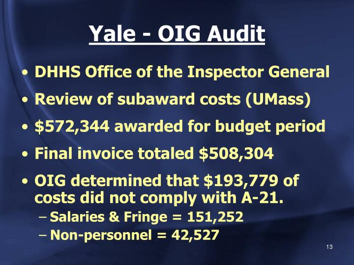 Yale - OIG Audit