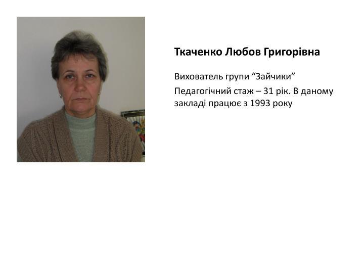Ткаченко Любов Григорівна