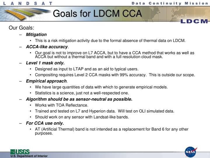 Goals for ldcm cca