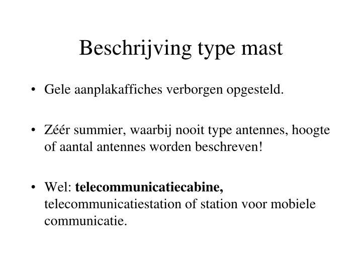 Beschrijving type mast