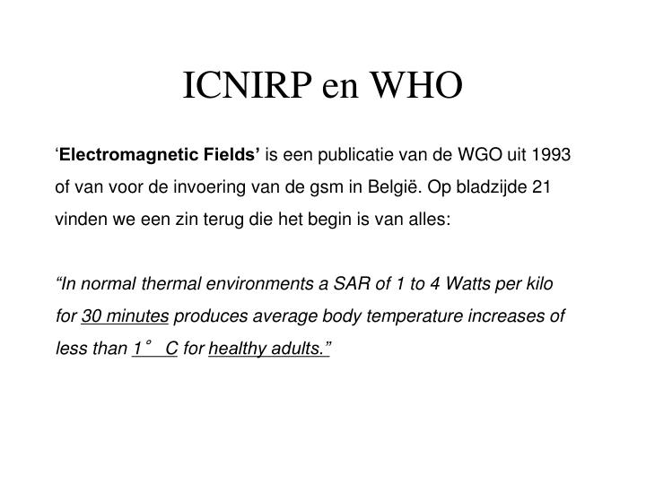 ICNIRP en WHO