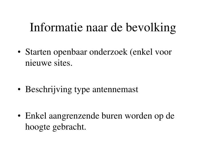 Informatie naar de bevolking