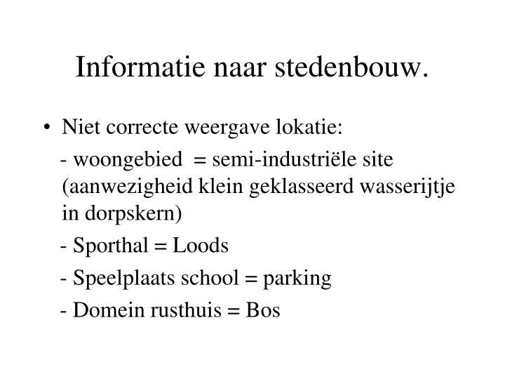 Informatie naar stedenbouw.