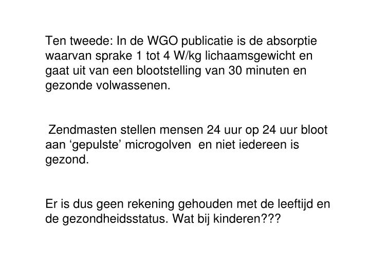 Ten tweede: In de WGO publicatie is d