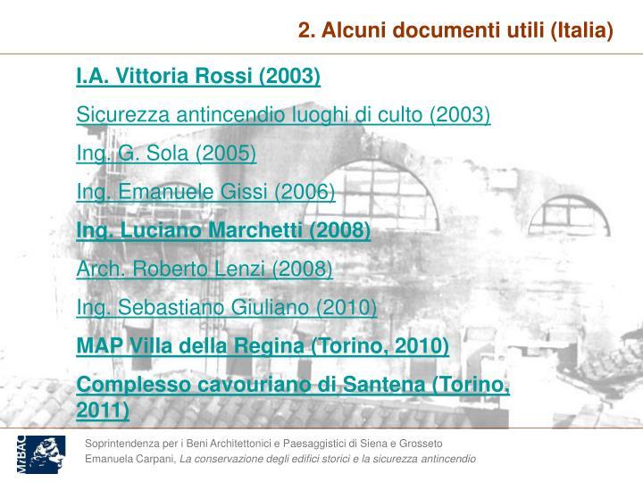 2. Alcuni documenti utili (Italia)