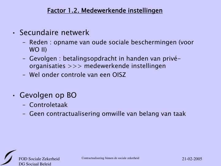 Factor 1.2. Medewerkende instellingen