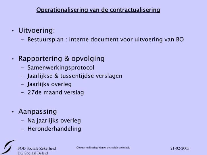 Operationalisering van de contractualisering