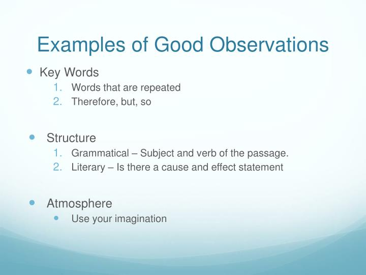 Examples of Good Observations