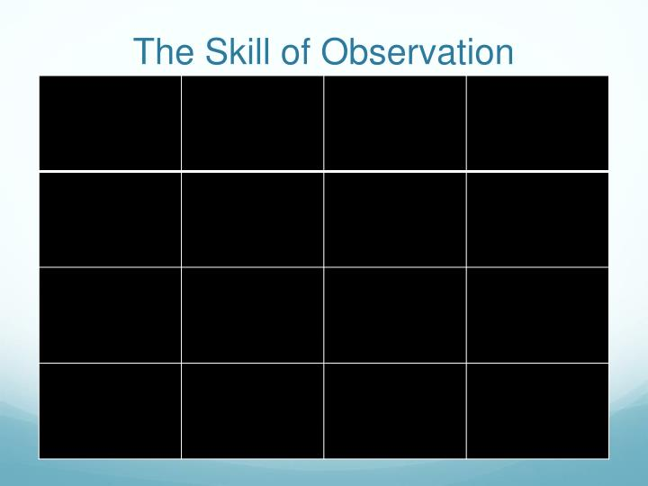 The Skill of Observation