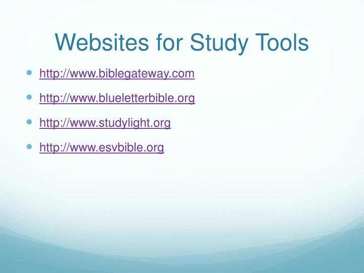 Websites for Study Tools
