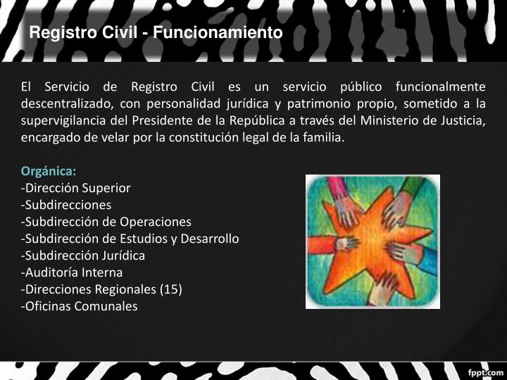 Registro Civil - Funcionamiento