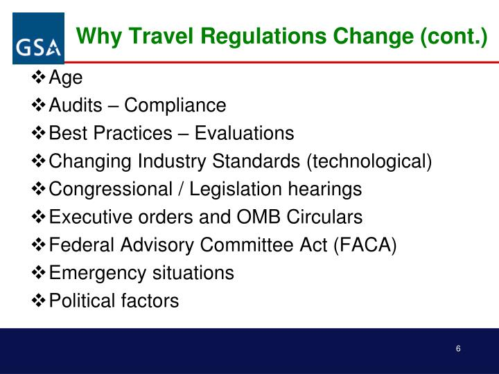 Why Travel Regulations Change (cont.)