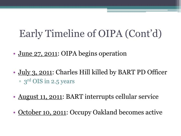 Early Timeline of OIPA (Cont'd)