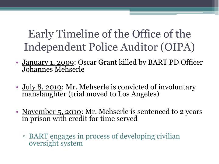 Early Timeline of the Office of the Independent Police Auditor (OIPA)