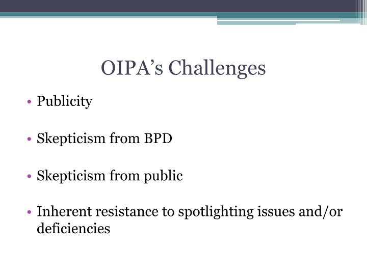 OIPA's Challenges