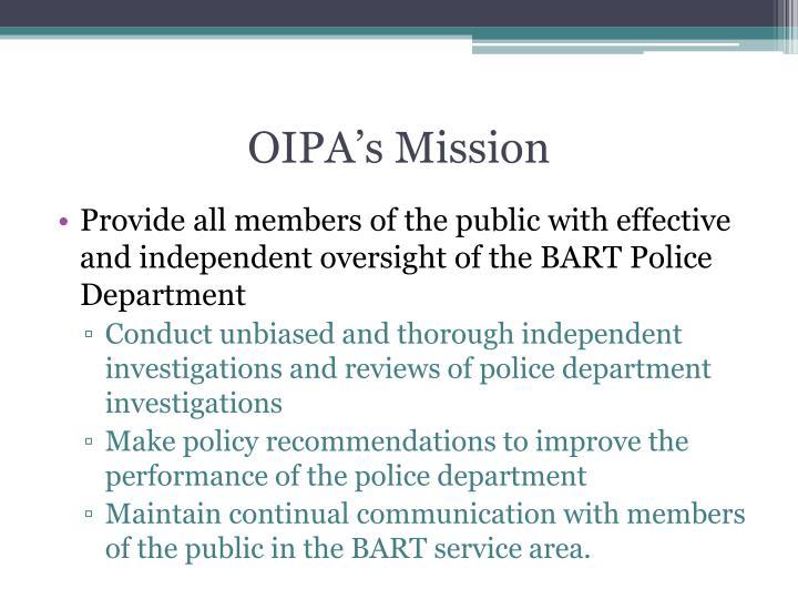 OIPA's Mission