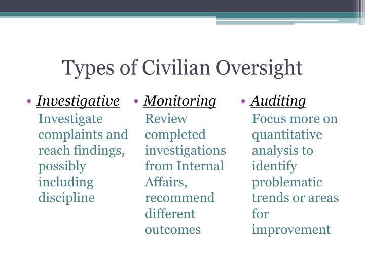 Types of Civilian Oversight