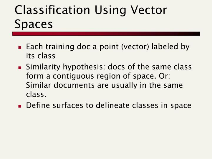 Classification Using Vector Spaces